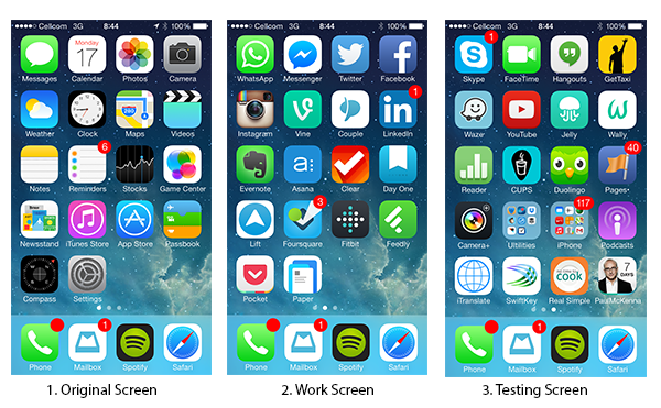 my productive iPhone screens