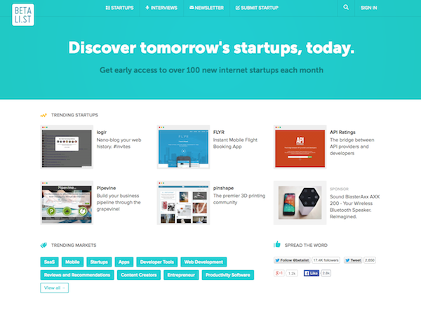 Discover inspiring landing pages