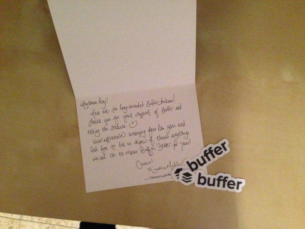 A personal thank you note from Buffer