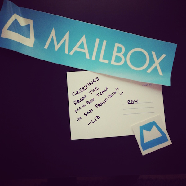 Mailbox's thank you note with two cool stickers