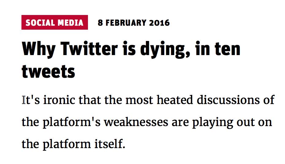 """NewStatesman.com  - Is Twitter Dead"