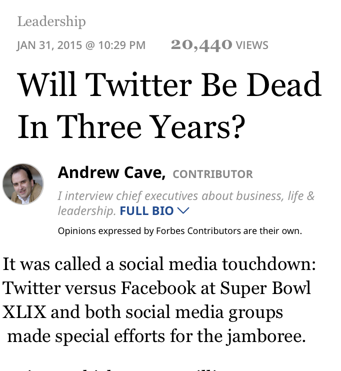 Forbes.com - Will Twitter be Dead in 3 Years?