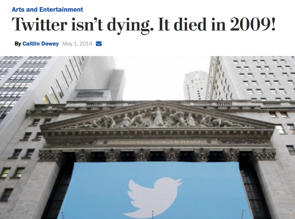 Washingtonpost.com - Twitter Isn't Dying; it Died in 2009