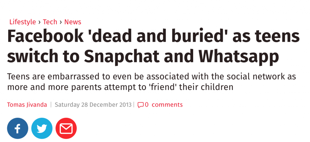 """independent.co.uk - Facebook is """"Dead and Buried"""""""